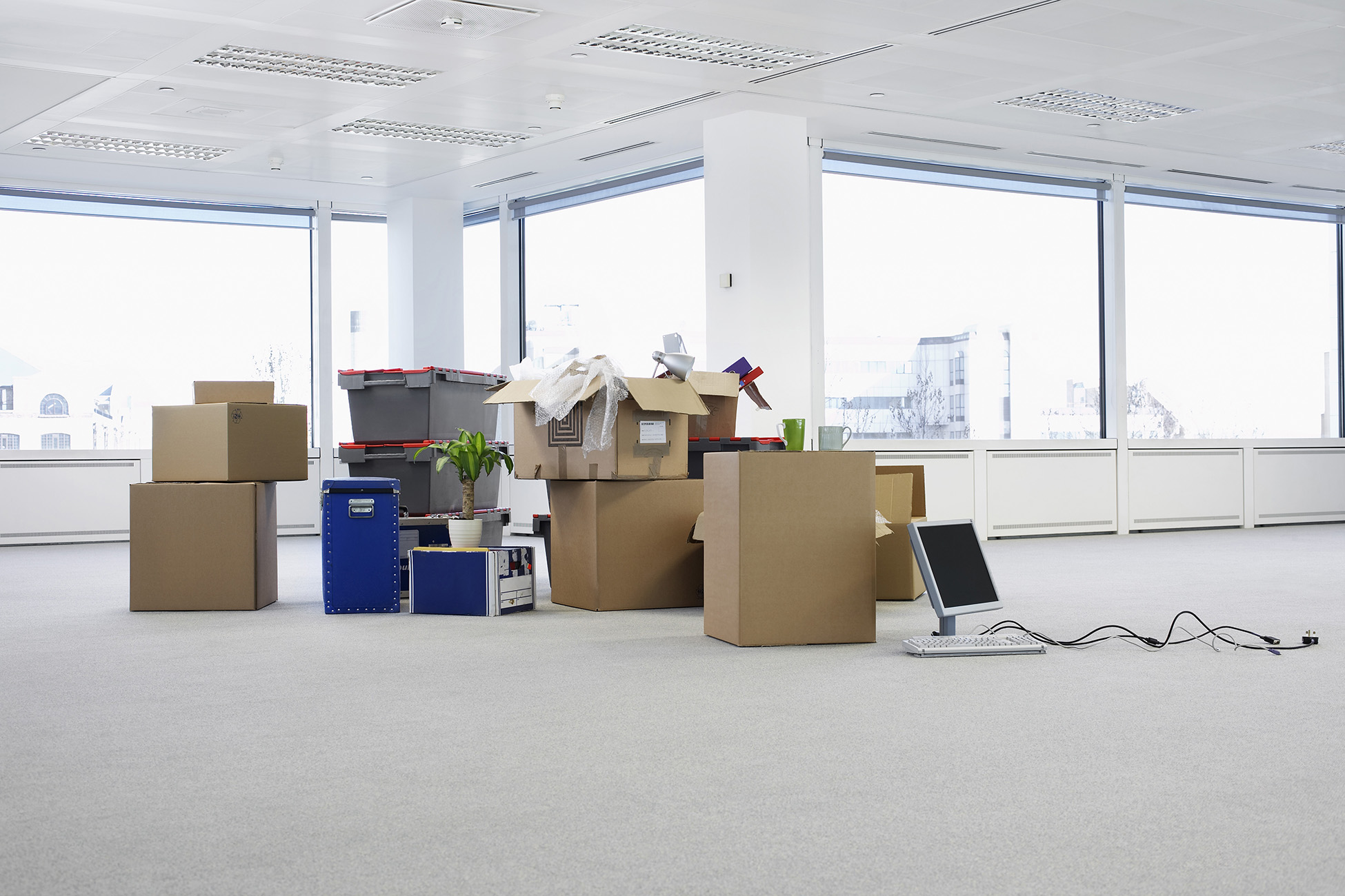 office full of boxes